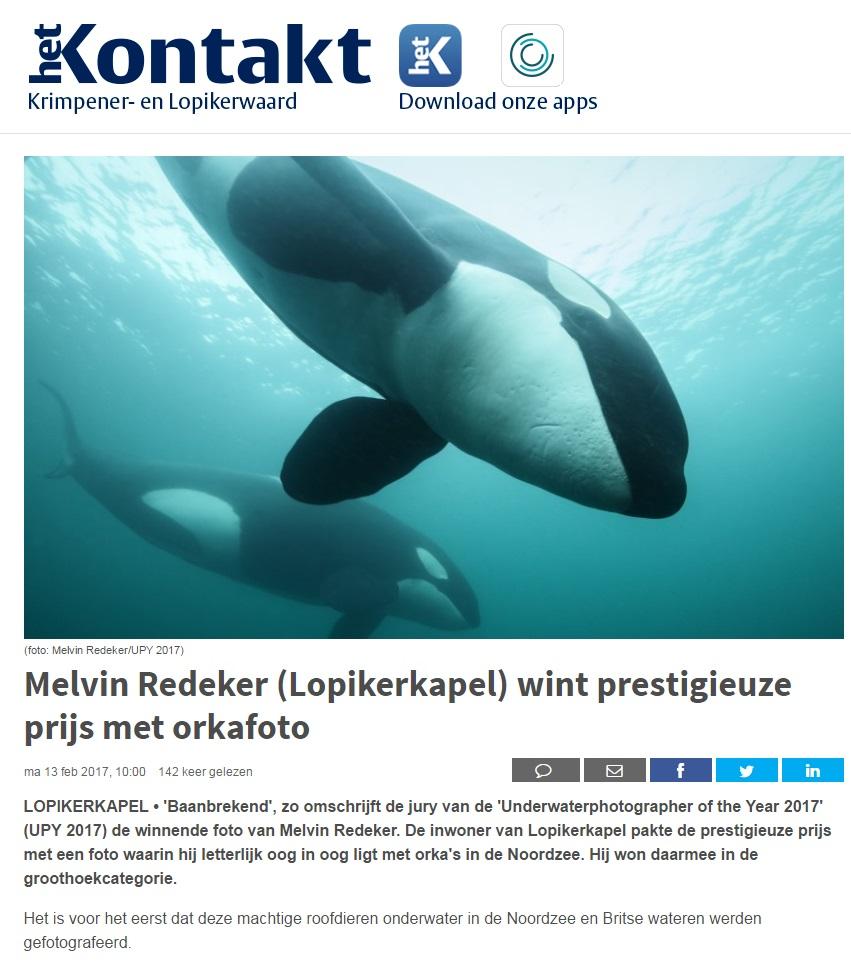 Het Kontakt orkas onderwater in de Noordzee