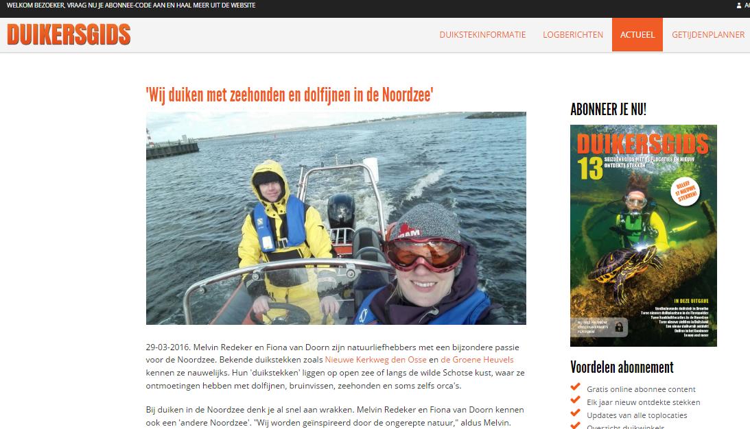 Duiken met zeehonden en dolfijnen in de Noordzee- Duikersgids