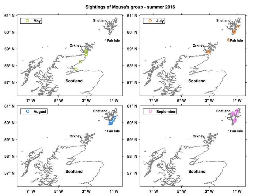 Kaart reis orka Mousa in de Noordzee
