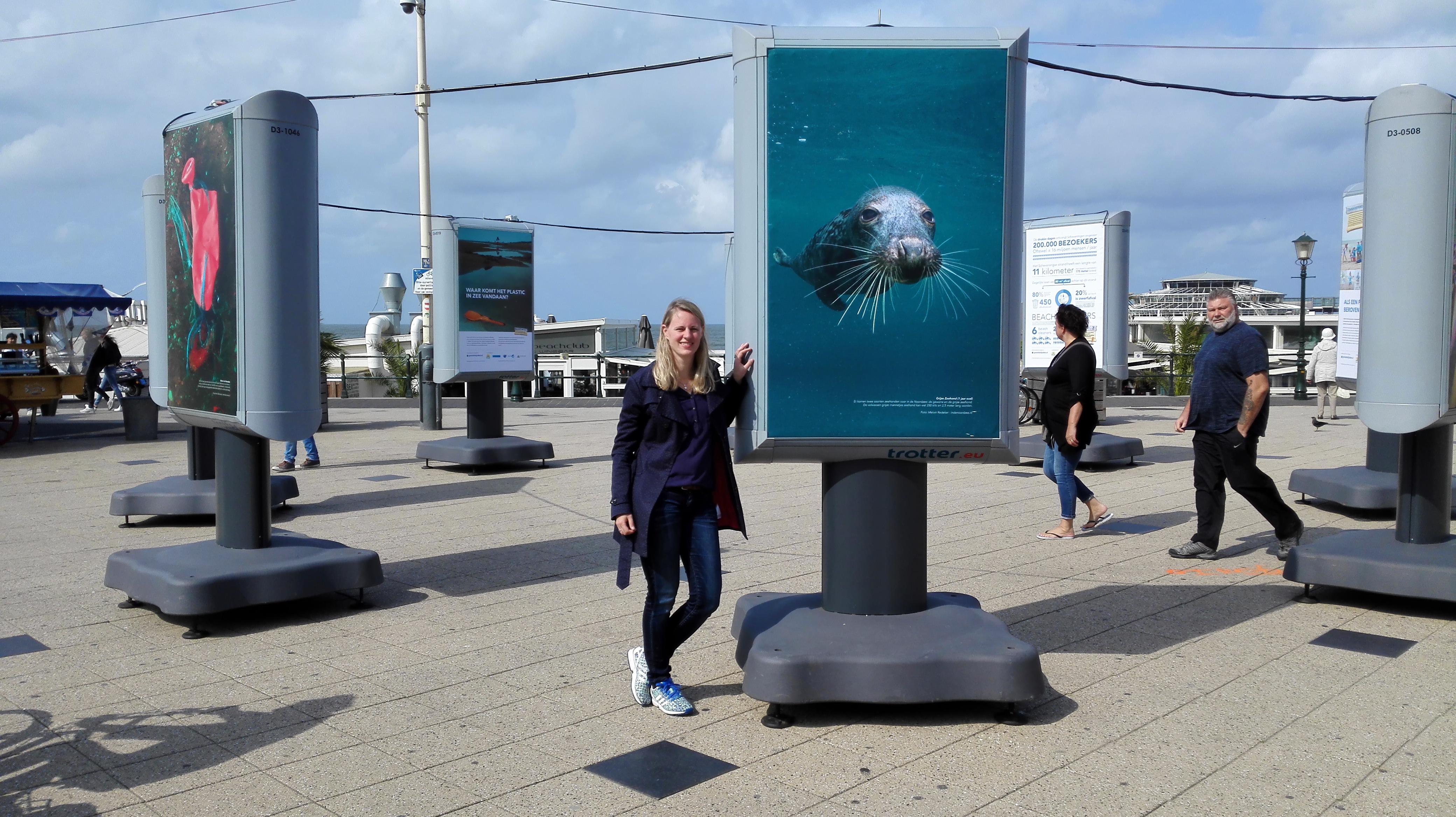 In de Noordzee bij foto expositie Scheveningen